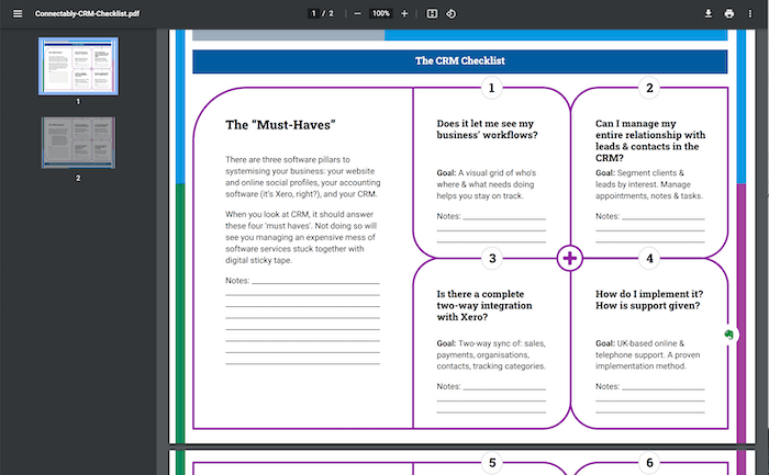 Connectably CRM Checklist pdf and App Store and CRM Checklist