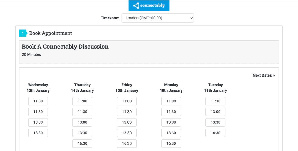 Business automation examples: (2) Connectably appointment scheduler